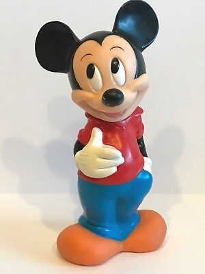 "Vintage Walt Disney Illco Toy Mickey Mouse 12"" Plastic Coin Bank"