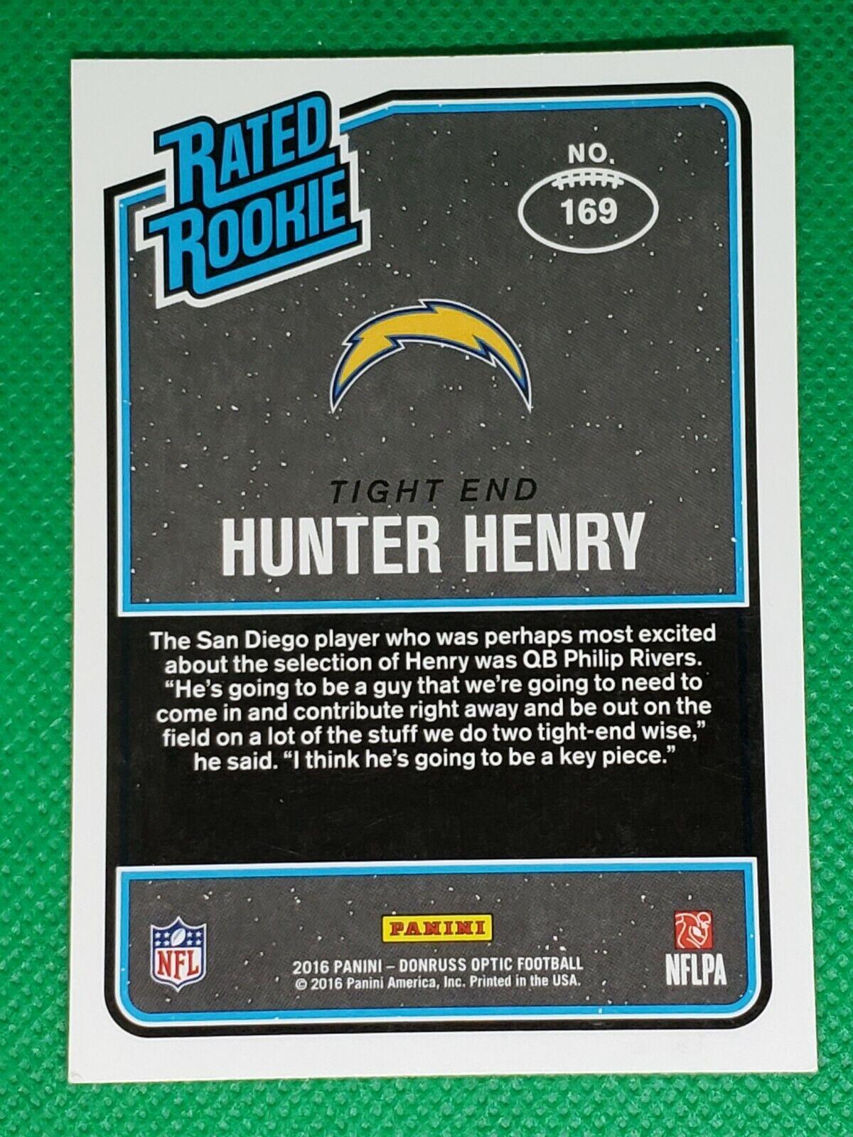 2016 Donruss Optic PURPLE HOLO 169 Hunter Henry ROOKIE Patriots / Arkansas  - $9.99