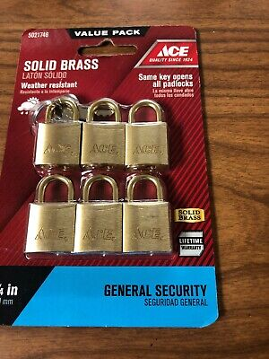Solid Brass Ace Padlock 6 Pack Value
