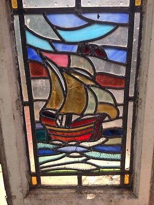 1 X leaded stained glass window coastal theme Tall Ship