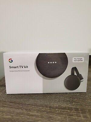 💎 Google Smart TV Kit Google Home Mini + Chromecast 3rd Gen Streamer NEW SEALED