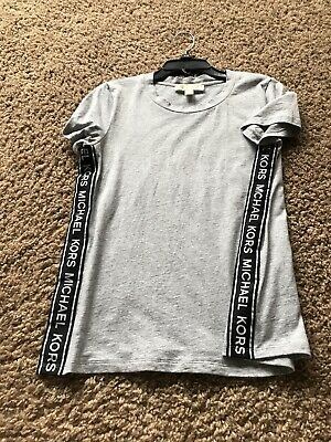 Michael Michael Kors Womens  Logo T-Shirt Top Grey SZ S