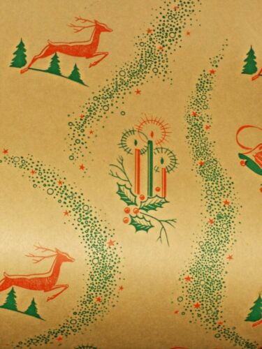 VTG CHRISTMAS 1940 WW2 WRAPPING PAPER 2 YARDS CANDLES REINDEER BELLS RED GREEN