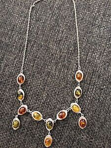 Amber, sterling silver jewellery