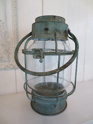 Laterne mit Glaseinsatz * H 38cm *antique türkis * Strand* Metall * Vintage*