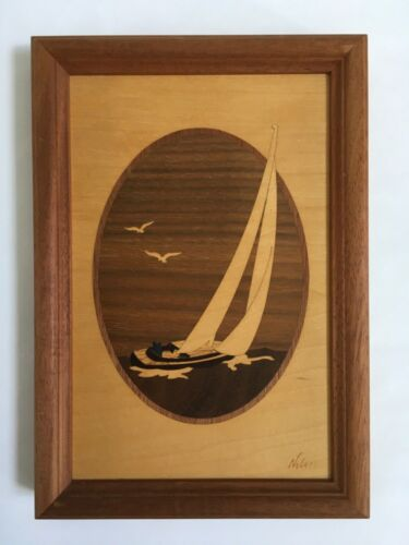 Hudson River Inlay SAILBOAT Marquetry by Jeff Nelson Wall Art
