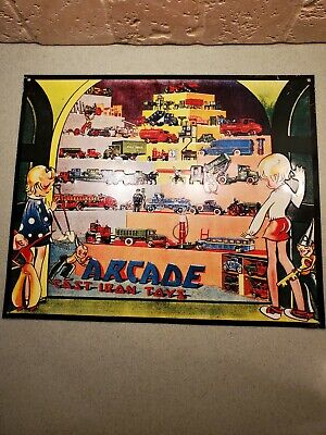 Vintage Old Arcade Cast Iron Toys Tin Embossed Advertising Sign