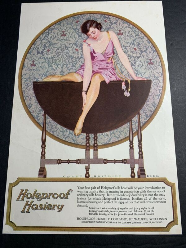 Holeproof Hosiery Orig Ad C 1920 pretty Flapper Girl Coles Phillips Sexy Legs