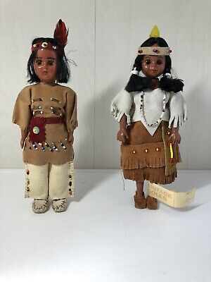 Vintage Native Indian Heritage Dolls. Original suede & beaded costumes
