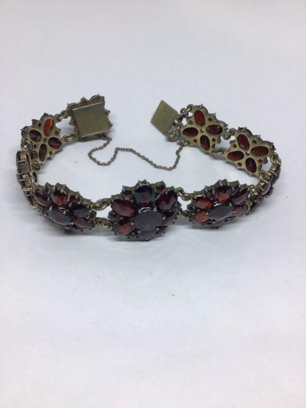 Stunning Antique Victorian Bohemian Garnet- 800 Signed Link Bracelet