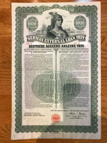 1924 German External Loan 7% Gold Bond – $1000 – Dawes Loan