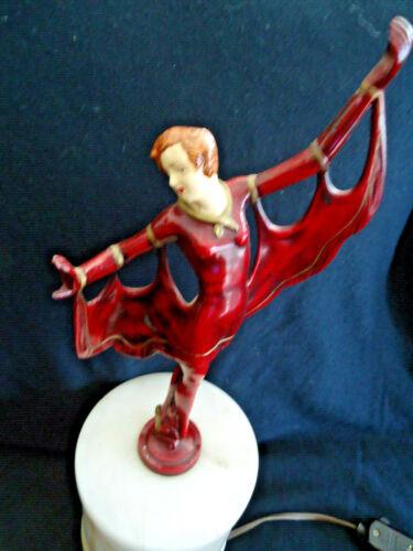 "ANTIQUE ART DECO DANCER BRONZE/ENAMEL LAMP ALABASTER BASE -GORGEOUS 15.5"" TALL"