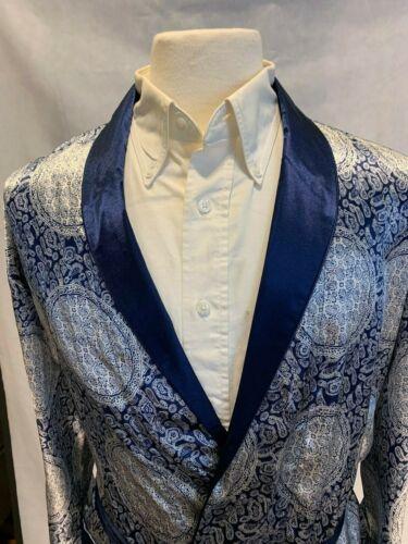 Mens Silk Satin Robe -   Navy Paisley Auspicious