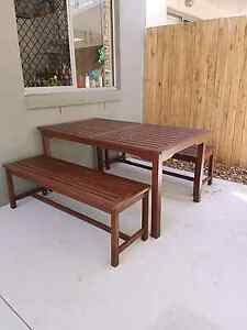 Wooden outdoor table and benches Mountain Creek Maroochydore Area Preview