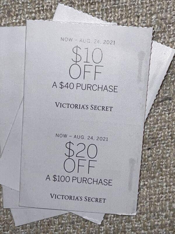 2 VICTORIAS SECRET $10 off $40 & $20 Off $100 Exp 8/24/21