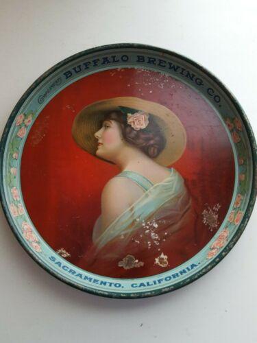 """RARE 1916 BUFFALO BREWING CO. 12 """" TRAY SACRAMENTO, CALIFORNIA"""