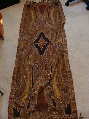 """Antique Vintage PAISLEY SHAWL 2 1/2 Yards by 27"""" wide"""