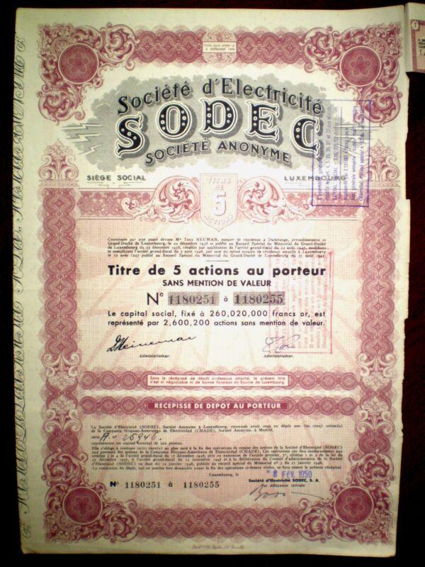Société d´Electricité SODEC  share certificate Luxembourg  1950   VG