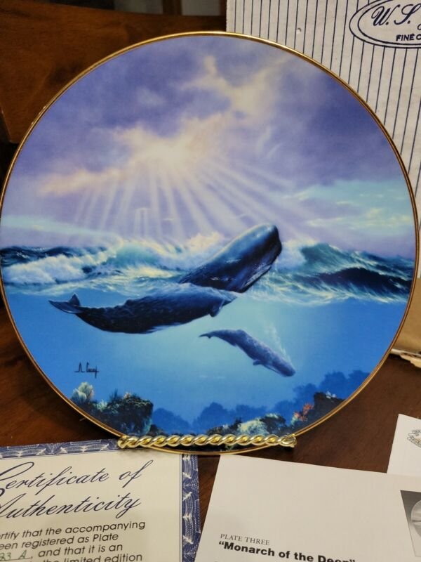 """Decorative Plate """"Monarch Of The Deep"""" 1991 Sperm Whale By Anthony Casay"""