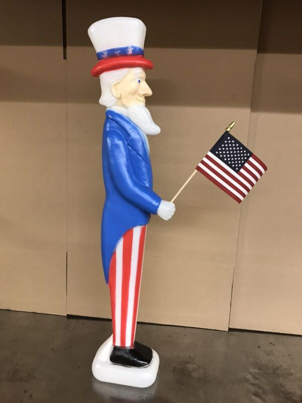 Blow Mold Uncle Sam Holding Flag Don Featherstone Union July 4 NON LIGHTED