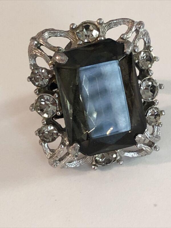 Vintage 1962 Celebrity Sarah Conventry Adjustable Ring Silver Tone Smoky Quartz
