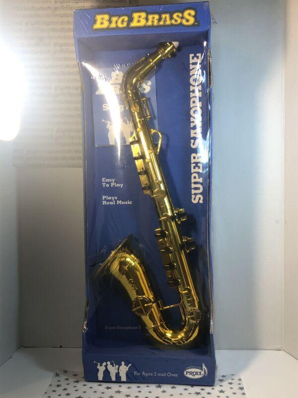 Vintage Big Brass Super Saxophone Plays Real Music Plastic NIP