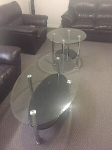 Glass coffee and end table set
