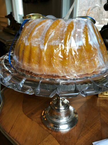 Antique Silver Plate & Cut Crystal Dessert Stand with Silver Plate Cake Server