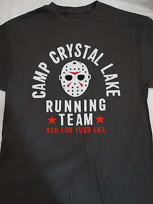 Friday the 13th Camp Crystal Lake Running Team Voorhees Charcoal Gray T-Shirt