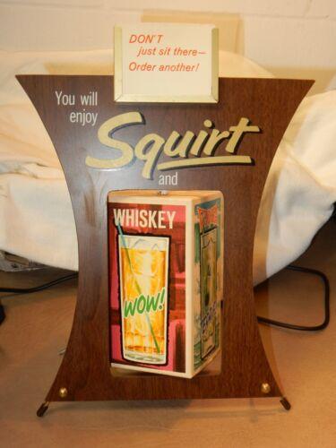 RARE   SQUIRT SODA & GIN VODKA WHISKEY FAVORITE MIXER BAR SPINNER DISPLAY SIGN