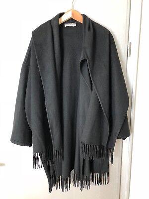 Ferragamo Cashmere Damen Cape/Poncho, one size, schwarz mit Fransen, Damen Cashmere Cape