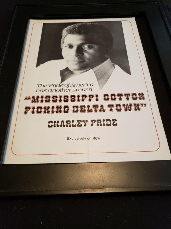 Charley Pride Mississippi Cotton Picking Rare Original Promo Poster Ad Framed!