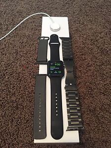 Apple Watch Leather charge case  and black woven nylon strap
