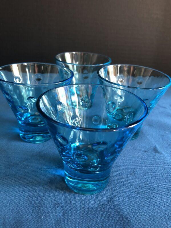 Hazel Atlas Azure Blue Capri Dot Juice Glasses Set of 4 Excellent Vintage