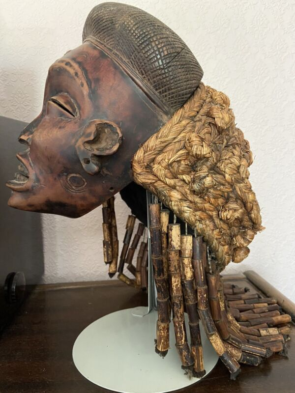 Old African Tchokwe Tribe Wood & Straw Pwo Mask