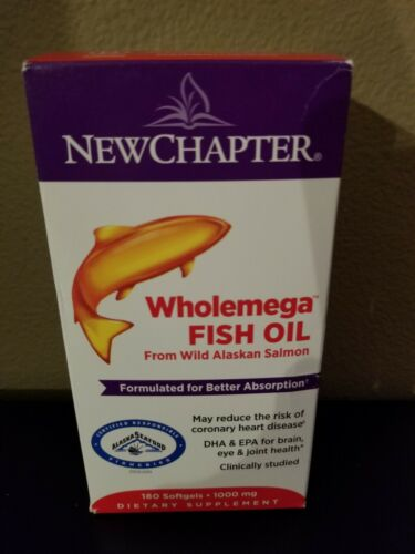New Chapter WholeMega Whole Fish Oil 1000mg 180 Softgels EXP 11/2021+ NEW SEALED
