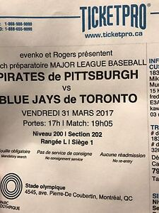 Pirates @ Jays in Montreal ball tickets