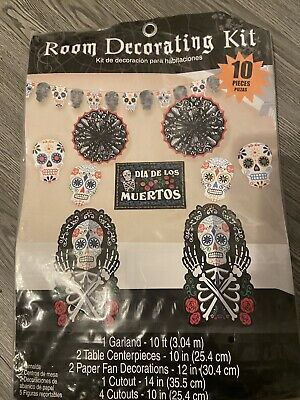 DAY OF THE DEAD / HALLOWEEN Room Decorating Kit Centre Piece Garland Decs