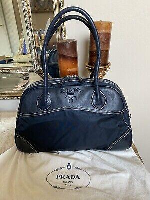 PRADA Vintage Black Leather and Nylon Satchel Shoulder Bag