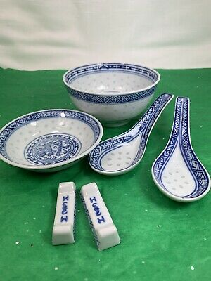 6 Pc Vintage Rice Eyes Blue Dragon China Dish Lot Bowl Spoon Chopstick Rest Dish