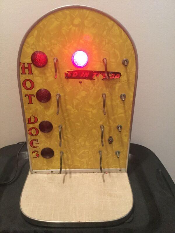 "Vintage Jeweled Hot Dog Warmer Sign - Light Up! Working! - 1950's / 1960's - 18"""