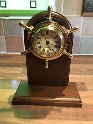 Original Brass Ships Wheel Cockpit Desk Clock Nauticalia Maritime Marine Boat