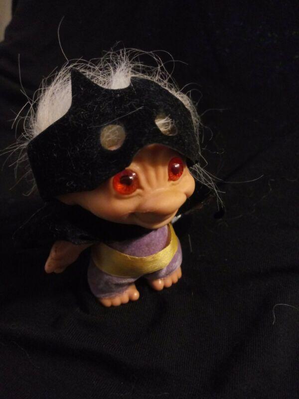 "Vintage Bat Troll 2 1/2"" made USA Guggly Batman Purple SOLID RUBBER  RobinRaRe"