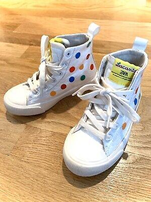 ZARA KIDS GIRL HIGH TOP SNEAKERS SIZE 10 or 27 WHITE