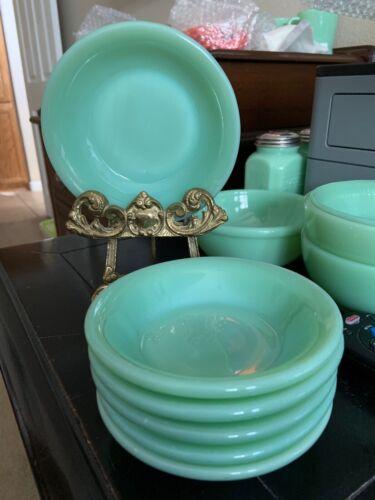 Jadeite Green (6) Fire King Oven Ware Dessert / Slaw/ Fruit Restaurant Bowls NOS