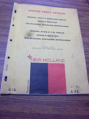 New Holland 202-212 Manure Spreader Service Part Catalog Manual1972202t-212s