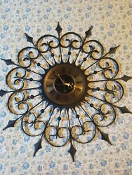 Mid Century Modern Starburst Wall Clock Sunburst Retro Wrought Iron German Key