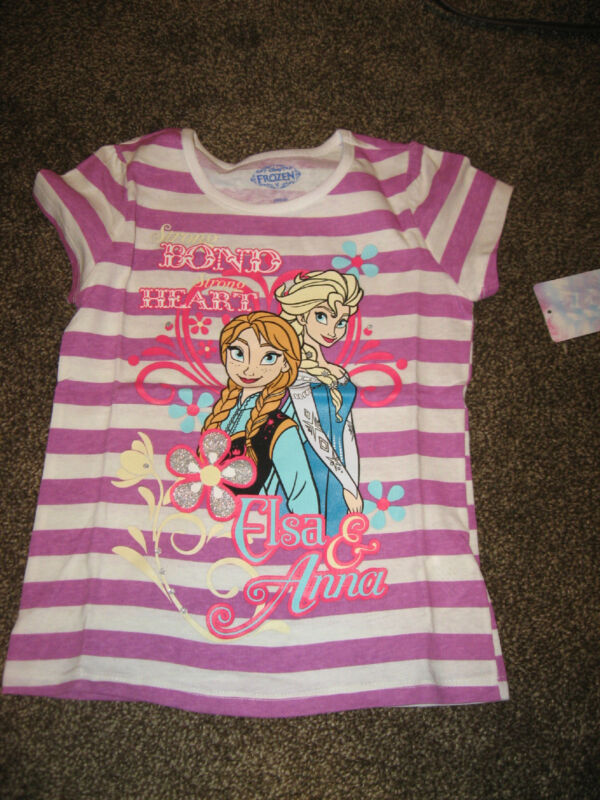 NWT Disney Frozen Pink and White Striped T Shirt 4 Elsa Anna Strong Bond Heart