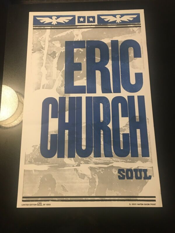 """Eric Church Record Store Exl Heart & Soul """"Soul"""" Hatch Show Print Poster #/1000"""