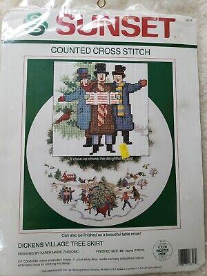 Vintage Dimensions Sunset DICKENS VILLAGE TREE SKIRT Christmas Cross Stitch, New